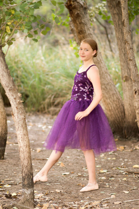 Ballerina in purple photographed by Jubilee Family Photography in Gilbert, AZ.