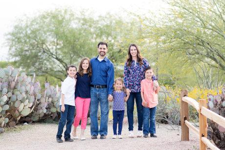 Family photographed at Riparian Preserve and Water Ranch in Gilbert, AZ.